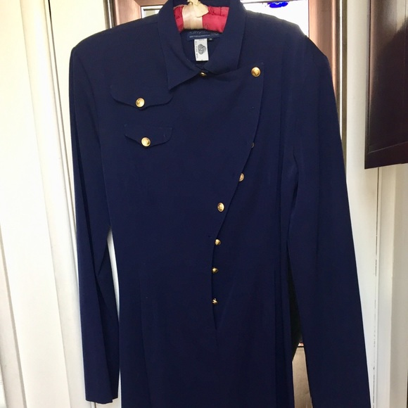 Vintage Navy Dress with Brass Buttons